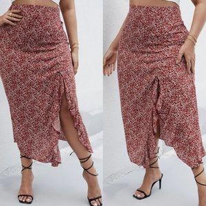 Boho plus size ruffle maxi skirt- BURGUNDY